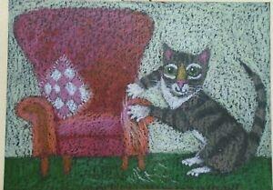 ACEO Ollietuxedo Original Handmade Art Cards Tabby Cat Working on Upholstery