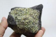 519g Natural Beautiful Green Peridot Olivine in Basalt Mineral Specimen k14