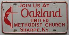 SHARPE KY 1970 JOIN US AT OAKLAND UNITED METHODIST CHURCH BOOSTER License Plate