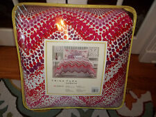 NIP Trina Turk Chevron Dots White/Red/Orange/Hot Pink King Comforter Set 3pc