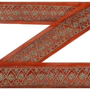 "Sanskriti Vintage Orange Sari Border Hand Beaded  Trim 2.5 ""W Craft Lace"