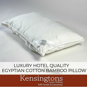 Kensingtons® Bamboo Filled Pillow Egyptian Cotton Cover Hotel Quality Super Soft
