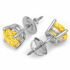 3.0 ct Round Brilliant Cut Solitaire Yellow CZ Stud Earrings Real 14k White Gold