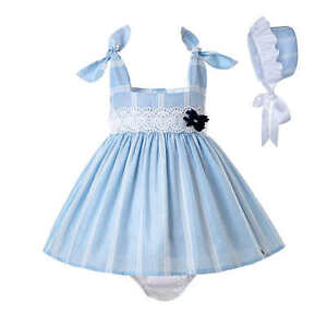 UK Spanish Baby Girls Princess Dress Birthday Party  Infant Clothes With Bonnet