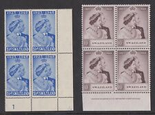 SWAZILAND 1948 ROYAL SILVER WEDDING 10s IN IMPRINT BLOCK SG 46-47 MNH.
