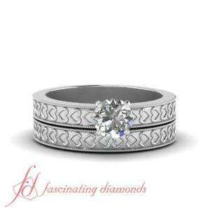 Platinum Engagement Rings And Wedding Bands With 1/2 Carat Round Diamond Center