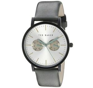 Ted Baker Men's TE10955 Analog Chronograph Grey Diver's Leather Watch New NIB