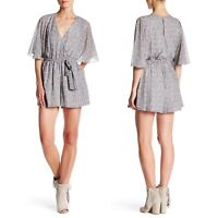 Rebecca Minkoff Floral Romper Tie Waist Flutter Sleeves Gray Silver Size S Small