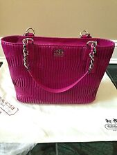 Coach NWOT 20522 Madison Gathered Leather Tote Silver/Magenta Gorgeous! Purse
