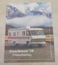1978 COACHMAN MOTOR HOMES RV Recreational Vehicle BROCHURE Motorhomes