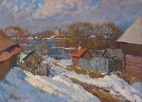 SPRING IN DUNILOVO landscape by YURGIN, Original oil Painting RUSSIAN 20x28 inch