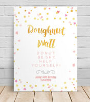 Doughnut Wall Birthday Personalised Table Sign, Poster, 40th 30th Birthday party
