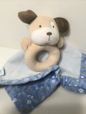 Carters Tan Puppy Dog Ring Rattle Security Blanket Blue Pawprints Lovey
