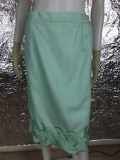 Sale Women's Vintage 1980's Mint Green Embroidered Skirt, Size M/L, Pre-Owned