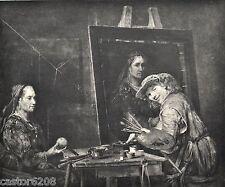 HELIOGRAVURE 1886 Maître peignant un portrait de Gelder Dujardin 22,5x19cm L'Art
