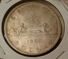 """1965 Canada Silver Dollar - 80% - """"Pointed 5 Variety"""""""