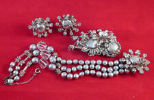 Vintage MIRIAM HASKELL GREY BAROQUE PEARL RHINESTONE BRACELET PIN EARRING SET