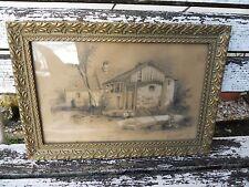 Ancien dessin signé Cinseau.S ? marquer Paysage époque XIXeme