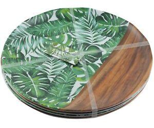 Tommy Bahama Palm Leaf Faux Wood Tropical Dinner Plates Melamine Set of 4