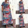 Women's Short Sleeve Stripe Floral Print Long Maxi Dress Asymmetrical Sundress