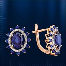 Russian Rose gold 14k/ 585 blue Spinel, CZ earrings . NWT stunning. 4.3 g
