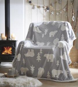 Polar Bear Grey Sherpa Fleece Christmas Super Soft Blanket-Throw