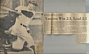 Vintage Collectable Newspaper Articles & Cuts Circa 1963-67 Lot Yankees Mantle+