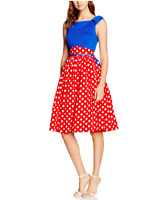 Lindy Bop Women's Carla Blue Red Polka Dress Size 8 BNWT NEW