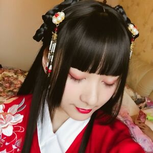 Chinese Ancient Custom Whole Hair Wig Archaic Traditional Hairpiece Hanfu Prop