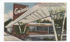 1950s Advertising Card for Gwinn's Restaurant & Drive In Pasadena CA