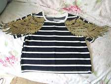Ladies Stripes T-shirt Size 8 Gold Angle Wings Sequins Embellished Top Blouse