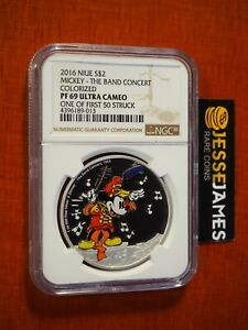 2016 $2 NIUE PROOF SILVER MICKEY MOUSE BAND CONCERT NGC PF69 ULTRA CAMEO DISNEY