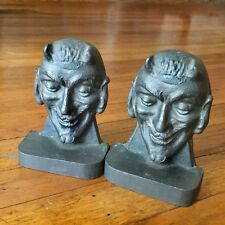RARE Antique - MEPHISTOPHELES / DEVIL Lead Bookends - German Occult - HALLOWEEN