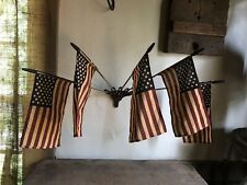 Primitive Country Aged Quality Reproduction Wall Mount Flags & Holder Metal