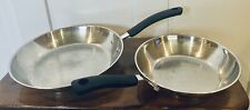 "2 T-FAL Induction 8"" & 10.5"" Fry Pans Skillets Stainless Steel/Copper"