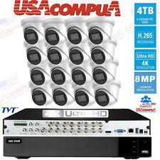 TVT Security Camera System 8 Megapixel 16-Camera Kit 4K-UHD 4TB Hard Disk H,265+