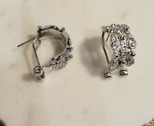 Omega Back Half Hoop Earrings Rhodium Plated Pave Clear Cz