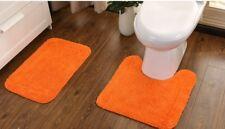 Orange 100% Cotton Bathroom Washable Bath Mat Pedestal Door Floor Rug Mat Set