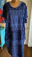 Johnny Was plus size 1X blue dress embroidered short sleeve shift boho chic luxe