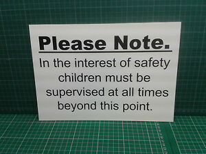 A4 Child safety disclaimer - farm/building site/swimming pool ideal - Free p&p