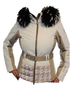 Sportalm Kitzbühel Ladies Winter Ski Jacket Hg Acuto With Real Fur White Cream
