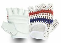Top Quality Leather Cycling Gloves Vintage Style Crochet Back Track Glove White