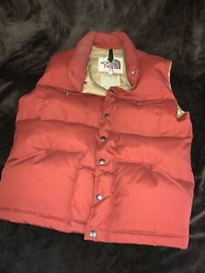 THE NORTH FACE Vintage Brown Label Mens Down Puffer Vest Snap Buttons USA Mens S