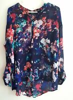 Women's Long Sleeves Multi color Top Size XL Hi-Low Hem by a.n.a