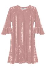 Rose Crushed Velvet Girls Dress 3/4 Sleeve Size 4 Casual Loose Fit School New