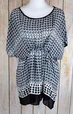 Studio M Women's Blouse Top Foggy Dot-Print Cinched Waist S/S Gray Medium M NWT