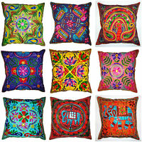 """MultiColour Zip Cushion Cover 16x16"""" 40cm Square Indian Embroidery Animal Flower"""