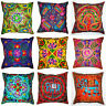 "MultiColour Zip Cushion Cover 16x16"" 40cm Square Indian Embroidery Animal Flower"
