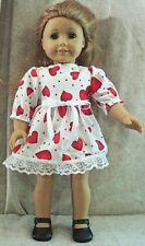 Doll Clothes Made 2 Fit American Girl 18� inch Valentine Dress Red White Hearts