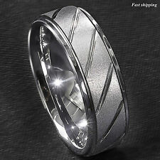 8/6mm Silver Tungsten Ring Sandblasted Finish Groove Wedding Band ATOP Jewelry